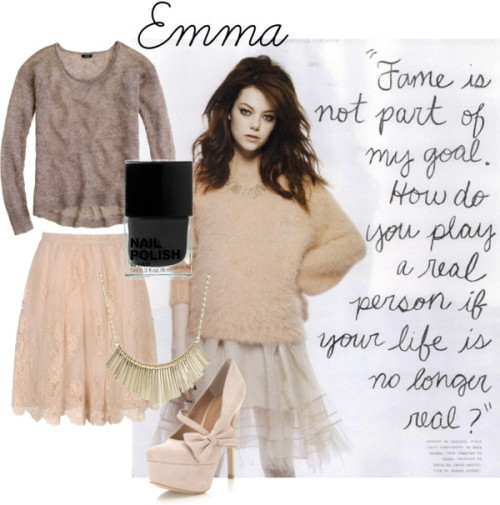 Emma by hbrous3 featuring closed toe heels  J Crew sparkly sweater, $95Blugirl Bluemarine lace skirt, $334Miss Selfridge closed toe heels, $90Wet Seal diamond jewelry, $9.50H M nail polish, £2.99