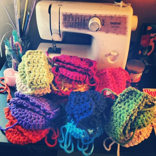 Workin hard! #crochet #yarn #hustleandsew #handmade #crafts #earmuffs #rainbow  (Taken with Instagram)
