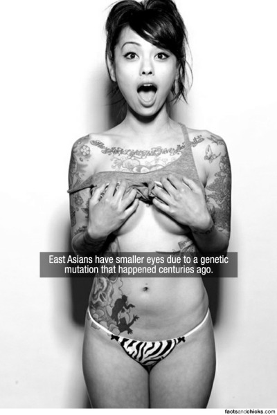 factsandchicks:  East Asians have smaller eyes due to a genetic mutation that happened centuries ago. source