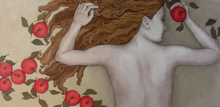 """APPLE DREAMS""acrylic on canvas, sepia pencil, acrylic pen100x50 cm2006"