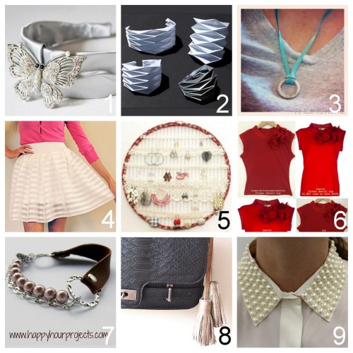Roundup Nine DIY Jewelry, Accessories and Fashion Tutorials PART THREE. Roundup of the past two weeks in case you missed anything. June 10th through June 24th, 2012. *For past roundups go here: trebluemeandyou.tumblr.com/tagged/roundup DIY Oscar de la Renta Inspired Headband F/2012 (A Matter of Style) here. DIY Origmai Paper Cuff with Template (Concreate) here. DIY One Minute Necklace (Finding Home) here. DIY Pleated Skirt with Wide Elastic Waistband Made from Curtains (Trash to Couture) here. DIY Lace Hoop Earring Display (Flamingo Toes) here. DIY Men's Tee Shirt to Lanvin Flower Detail Top (inspiration & realisation) here. DIY Leather Chain Beaded Bracelet (Happy Hour Projects) here. DIY Leather Silver Large Tassels from a Recycled Belt (Clones 'N' Clowns) here. DIY Pearl Studded Collar using Iron-On or Adhesive Studs (stripes + sequins) here.