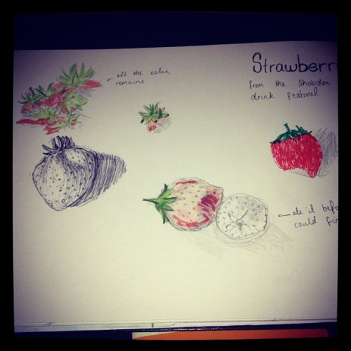 Strawberries, which I ate before I could finish painting #pen #drawing #pencil #art #illustration #sketch #sketchbook #strawberries (Taken with Instagram)