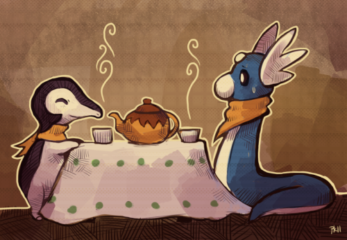 Would you like some tea? cyndaquil and dratini having tea
