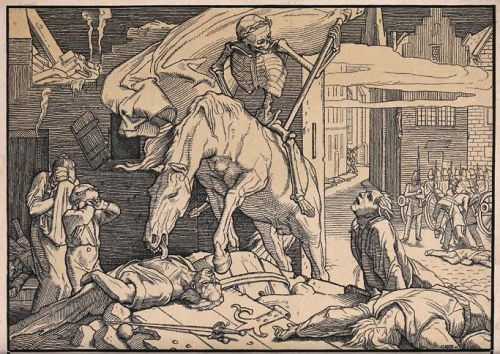 19thcenturyart:  Alfred Rethel, Death as Victor, plate 1 from Another Dance of Death, 1849.  Woodcut. Wellcome Library, London.