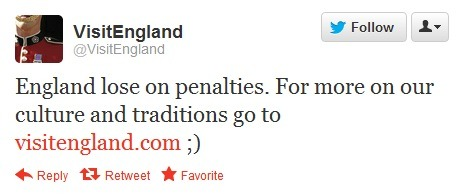 Best Tweet of the Euro2012 footie tournament by a mile. Well done @visitengland. UPDATE: Within just 11 hours or so the message had been retweeted a mammoth 7,700 times.