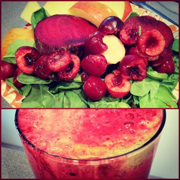 vinyasatovino:  Beet, cherry, apple, spinach juice - carotenoids, polyphenols, and antioxidants for the win!