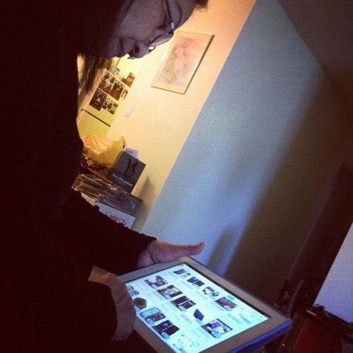 Teaching my mom how to use an iPad:). She's so cute!   (Taken with Instagram)