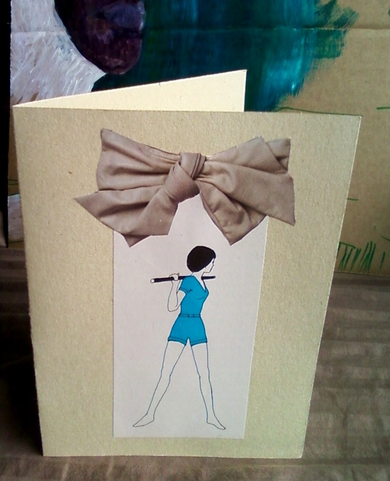 "$1 Stretch  notecard. repurposed paper, vintage book page, magazine clipping. ~4.5""x6"""