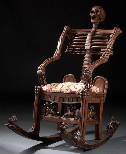 dima-ivanovich:  Skeleton rocking chair. Carved wood. Russia, 19th century.