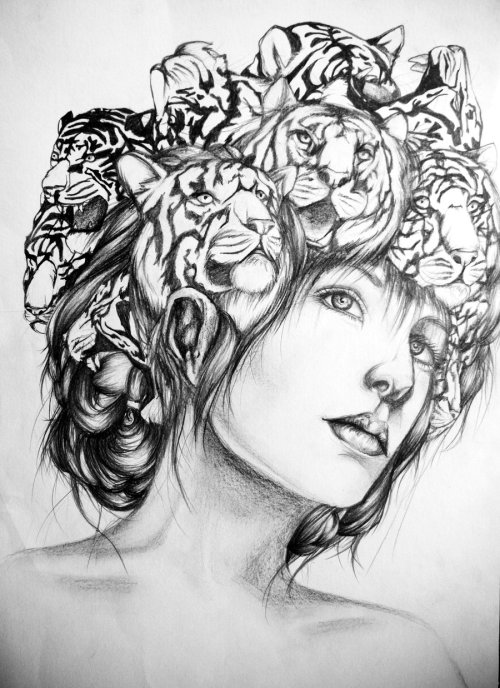 artforadults:  Girl With Tiger Hair (A3 size, 4B pencil)  Please check out my deviantart and my tumblr page for more pieces! :3 http://emicharlotte.deviantart.com/