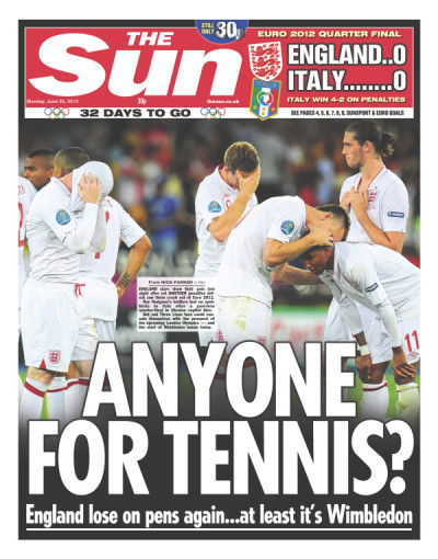 Front page of The Sun (UK), June 25, 2012