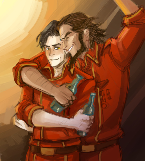 "korrashorts:  masterarrowhead:  minuiko:  ""Bit of a wild man, but the bravest commander you'll ever meet."" - I need these two to be bros.  Oh look! My new brOTP <33  Bumi and Iroh were in the White Lotus together, and now the next Bumi and Iroh are on the United Forces together. This is so beautiful I want to cry."