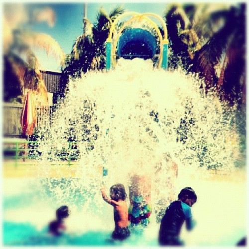 time to get wet #puertorico #instagram #iphonegraphy #kids #curlyhair #fun #myson #memory #playing #happiness #instagram_kids #fatherandson #salinas #turismointernopr #summer #refresh #pool #water #splash (Taken with Instagram at Albergue Olímpico)