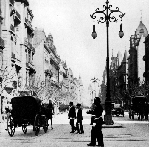 The principal thoroughfare, Avenida De Mayo, in Buenos Aires, 1921