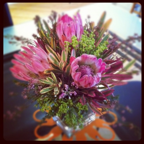 Saturday flower arrangement #thistle #pink #bloom #bouquet #purple #flowers #fresh #pretty  (Taken with Instagram)