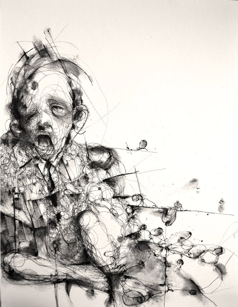 monstror.blogspot.com Eric Lacombe - P099 (2012) Pen - Ink on paper - 40 x 30 cm