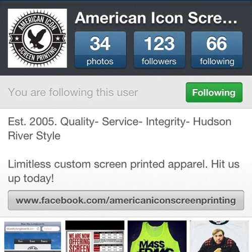 Follow our friend from American Icon for all your screen printing needs! @americaniconny @americaniconny @americaniconny  (Taken with Instagram at Planet New York Tattoo)