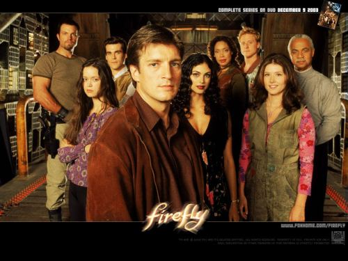 "FIREFLY TRIVIA:Joss Whedon originally cast Rebecca Gayheart as Inara.    Summer Glau appeared as a Prima Ballerina in Angel: Waiting in the Wings. Whedon remembered her from this and contacted her about the part of River.    Chinese phrases are often inserted into the English dialogue, sometimes to get around censors. Some ship signs are in Chinese.    Originally, the ship had only 5 main characters. Throughout the development process, the character list was increased to 9.    The entire interior of Serenity, and some of the exterior, was built full-scale and almost completely contiguous. It was split across two sound stages: one for the upper deck and one for the lower deck, shuttle docks, and hold.    Between shots, the cast preferred to wait in ship's lounge instead of a green room.    The character 'Captain Malcolm ""Mal"" Reynolds' was ranked #18 in TV Guide's list of the ""25 Greatest Sci-Fi Legends"" (1 August 2004 issue).    The Alliance's full title is the ""Anglo-Sino Alliance."" Joss Whedon intended for it to be the merger of the USA and China, the last of the world's superpowers. That's why many characters sometimes speak Chinese. The Alliance flag, seen in the original pilot, is a blending of the US and Chinese flags.    Joss Whedon originally thought up the premise of the show with his friend Tyler Lovelly, who was not interested in pitching the show, so only Whedon was involved in production.    Joss Whedon has said that he was inspired by Michael Shaara's novel ""The Killer Angels"", which also inspired the film Gettysburg.    Many of the names of off-camera and minor characters are drawn from the ranks of science fiction writers. Notably, Bester (Alfred Bester) as the original mechanic of Serenity and Brennert (Alan Brennert) and Ellison (Harlan Ellison).    The cast had a running gag where they would yell Summer Glau's name whenever they flubbed a line or messed up. It began after she forgot her line at the end of a particularly difficult scene. The gag continued through the filming of Serenity.    The Alliance officer and soldier uniforms are leftovers from Starship Troopers.    Some of the weapons used in the series were contemporary with the time of production and chosen based on their somewhat futuristic look. No modifications were made by the prop department to either disguise them or make them look more futuristic. Alliance soldiers are seen carrying British SA80 rifles and Heckler & Koch MP5s, both in variant models. The Browncoats are seen using Heckler & Koch G36 rifles.    In several episodes (for example Firefly: The Train Job, Jayne wears a German police jacket, from the state of Rhineland-Palatinate (German: Rheinland-Pfalz). The badge on the right sleeve has the word ""Polizei"" (German for police) on the top and the emblem of Rhineland-Palatinate underneath.    The lever-action Winchester carbine carried by Zoe throughout the series was inspired by a similar weapon used by Steve McQueen in Wanted: Dead or Alive.   The DVDs of Firefly were flown up to the International Space Station by astronautSteven Swanson on board the shuttle Atlantis during its June 2007 STS-117 mission.    Every scene in space is shot without sound effects of the ship moving, precisely as it would be in real life; no air, no sound. Of course, that doesn't cover the background music played during those scenes.    According to an oral history of Dr. Horrible's Sing-Along Blog published in July 2008 in Entertainment Weekly, Neil Patrick Harris auditioned to play Simon.    Morena Baccarin's character Inara is named for a goddess worshiped by the Hittite (Hurrian) Empire of what is now Turkey, circa 1800-1200 BC. Inara was the goddess of the wild animals of the steppe and daughter of the Storm-god Teshub/Tarhunt. She is analogous to the Greek Artemis and the Roman Diana.    Five of the main cast members have appeared in other Joss Whedon shows as villains.Nathan Fillion appeared in the seventh season of Buffy the Vampire Slayer as Caleb. Gina Torres appeared in the fourth season of Angel as Jasmine. Adam Baldwin also appeared in ""Angel"" (1999), but in the fifth season as Marcus Hamilton. After ""Firefly"" (2003), Alan Tudyk and Summer Glau appeared in Dollhouse as Alpha and Bennett Halverson respectively.    Serenity's engine room includes the center console from a Boeing 737, complete with throttles, fuel cutoffs, spoiler and flap levers, and pitch trim wheels. It's frequently seen standing on the floor between the cot and the engine.    The sawed off shotgun that Mal Reynolds (Nathan Fillion) carries is the same prop that Lord Bowler (Julius Carry) carried in The Adventures of Brisco County Jr.  imdb.com"