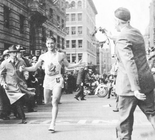 desire40:  On April 19th, 1940, Gérard Côté won the 44th Boston Marathon finishing in 2 hours and 28 minutes.  He was a French Canadian and went on to win three more times. photo via  Wikipedia