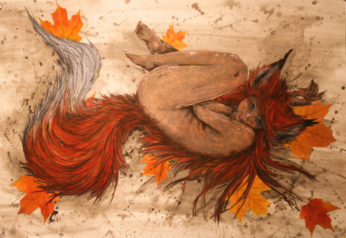 artforadults:  Foxy lady ;D Made her in February with Chalk, Pastel, Watercolor, and leaves. Created by: Alyssa Guenther  http://foxaroo.tumblr.com/