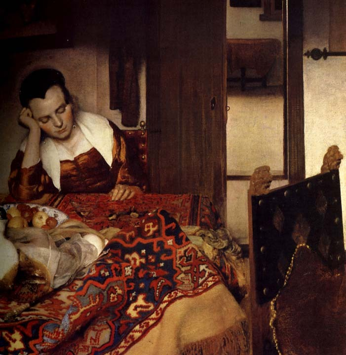 thenewmanhattanite:  A Maid Asleep by Joahness Vermeer.