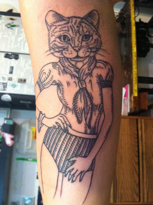 "Since I was born, I've always been known as the ""cat lady"" type. Meow. Tattoo Artist: Speck Osterhout 