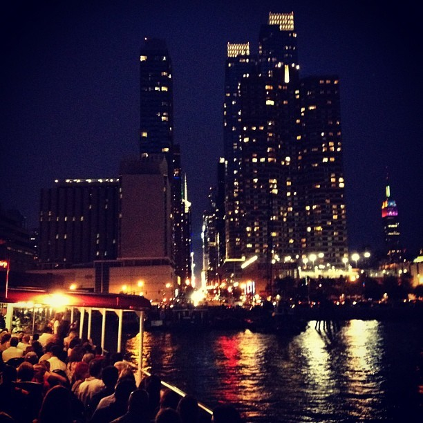 Nighttime cruise on the Hudson River, New York