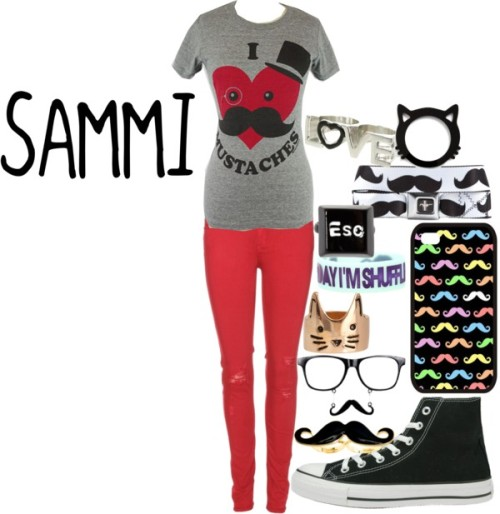 cats and mustaches!!!!!!!!!!!! by sammistyles featuring cat jewelry