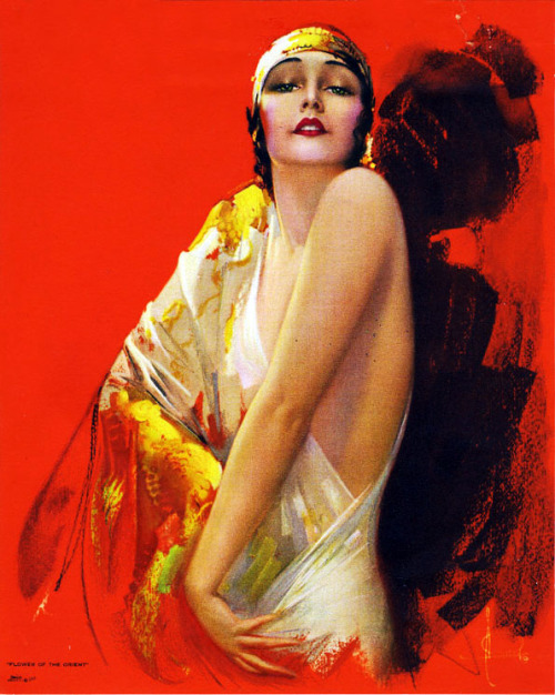 "vintagegal:  ""Flower of the Orient "" by Rolf Armstrong c. 1930"