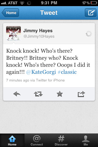 Jimmy Hayes' jokes literally make my day.