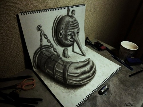 3D Illustrations  21-year-old artist from Japan, Nagai Hideyuki, creates drawings that seem to leap out of the sketchbook. It's amazing to see what can be done with just a pencil and paper and the right angle for capturing a photo.