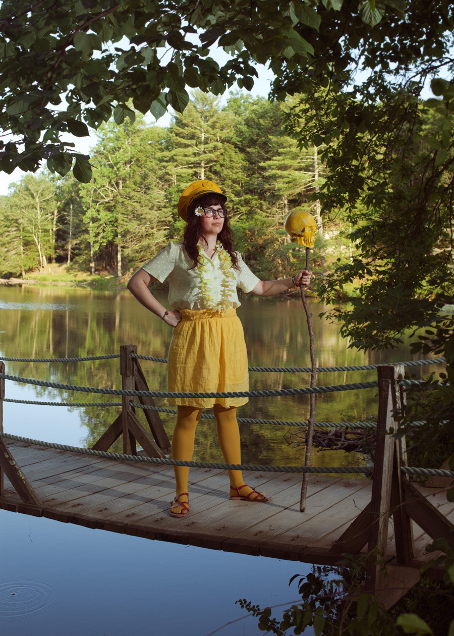 "Michelle Alexis Newman on Team Yellow for Steph Goralnick's ""Color Wars"" photo at Phoot Camp.  Ashokan, NY - June 2012  ©Lauren Randolph"