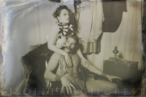 One of my newest pieces, from my vaudeville and traveling circus series.Models:  Michael McPhee and Emmy Rope Emmy's Shrug and Bustle:  Kinki Kitty Michael's Wardrobe:  Lisolette Gilcrest Make-Up Artist: Rebecca Gohl