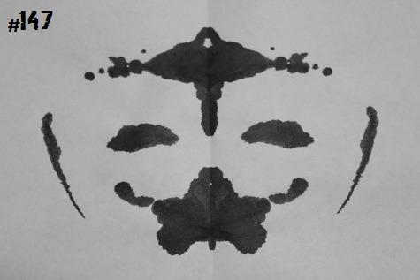 inkblotoftheday:  Inkblot #147 Instructions: Tell me what you see. -Enjoy  Look, I don't care how you dress them up! Even a Confucius-leprechaun mashup clown is still freaky … if not outright scary.