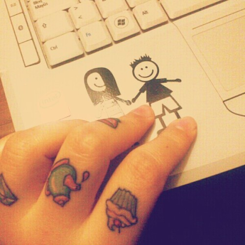 Tea Time. ♥ My new finger tattoos. by Cecilia Reinoso (Tattoo Artist) in S.D.E., Argentina.