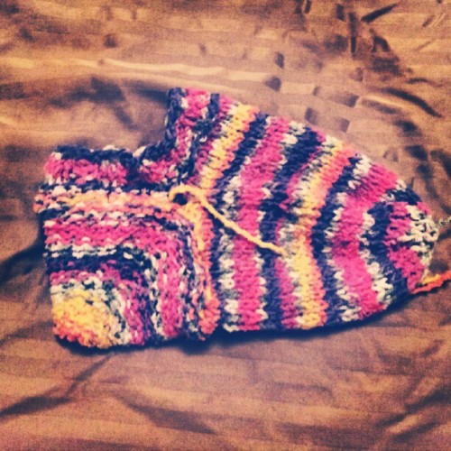 i just finished #knitting first #sock! it ended up being more like a #slipper (Taken with Instagram)