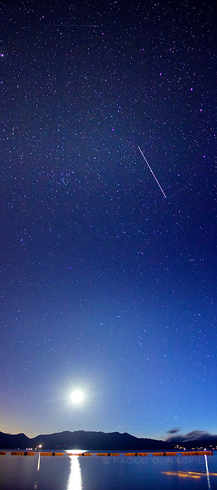 capturedphotos:  The Night Sky over Lake Tahoe Two shot vertical panorama shot at 18mm f/3.5 30 seconds at ISO 3200. The moon lit up the water nicely yet wasn't too bright as to overpower the stars. The blurry brown streak at the lower right were geese just floating by. The diagonal streak in the sky and the faint horizontal one on top are airplanes if I'm not mistaken. Photographed by: http://capturedphotos.tumblr.com/