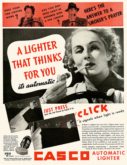 telephonecigarettes:  lunapancake:  A Smoker's Prayer 1937  It's thermostatically controlled! Approved by engineers of leading automobile manufacturers! This is the 30s version of the 4am infomercial depictions of people blowing up their kitchens while trying to bake because they don't own an electric brownie maker.