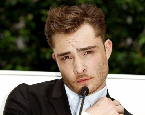 Ed Westwick at Philipp Plein's press conference in Milan.