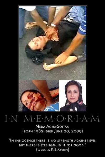 egyanarchist:  she was killed during the 2009 Iranian election protests.