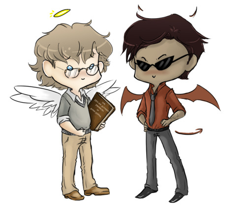 uncreativeart:  guess who finished Good Omens (Based on the designs by Eeba-ism, because goddamn dat dark skin— hnnnghfap)