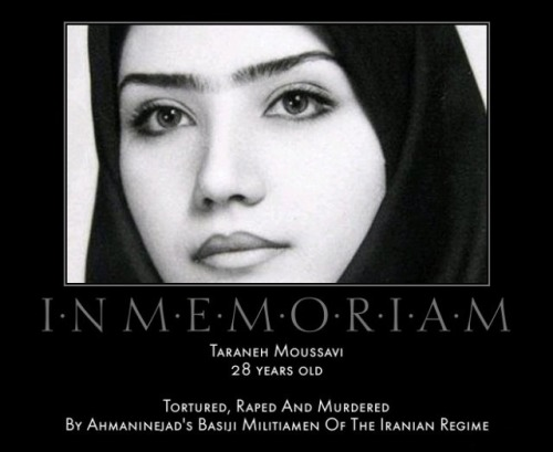 she was killed during the 2009 Iranian election protests.