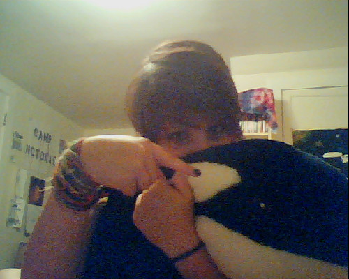 You guys, this is Sid, my giant stuffed animal orca whale. He's named after Sid Vicious. <3and he's my cuddle buddy. :3