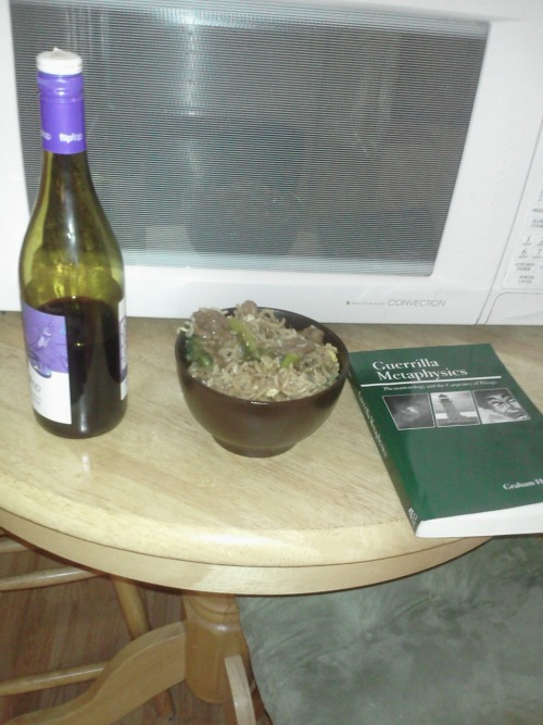 This is pretty much my night. Wine. Chinese Food. And Philosophy. Also, I was searching through some drawers at my grandparents house and realized they had some CDs of mine I accidentally left here. So I'm blasting The Shins as well.