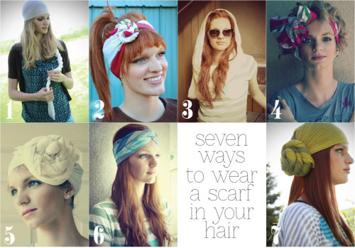 DIY Seven Ways to Wear a Scarf in Your Hair Video Tutorials by The Letter 4 here.