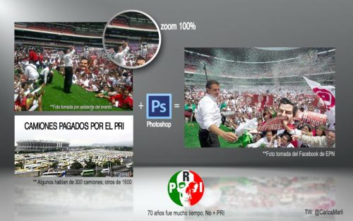 Enrique Peña Nieto en el Estadio Azteca con Photoshop