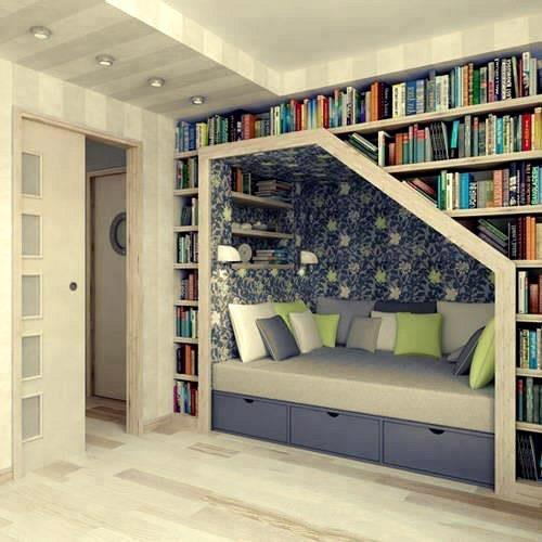 Check out this reading cubby we found, it would be the perfect place to curl up and read your favourite books on a Sunday!For bookcase ideas, we have them here: http://bit.ly/home24Bookcases And DIY bookcase options here: http://bit.ly/home24DIYBookcasesHappy Sunday everyone :)