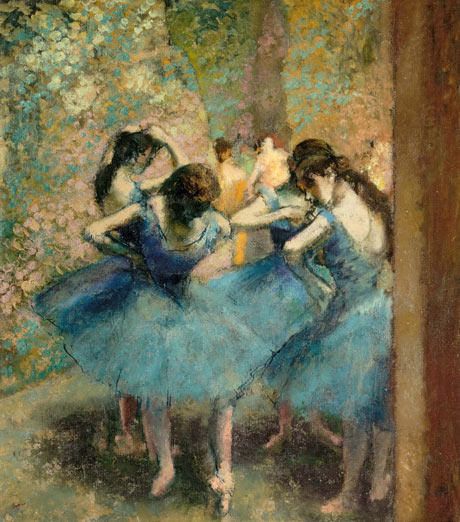 drenchedland:  Edgar Degas, Dancers in Blue 1890
