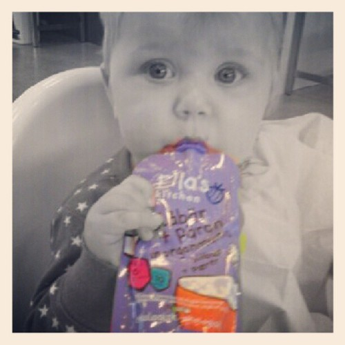 My #daughter with her #favorite #favourite #snack from #ellaskitchen. #smoothie #foodstagram #food #foodpics #kid #kids #kidstagram #child #children #chilling #instamood #babygirl #girl #baby #fridefisk  (Taken with Instagram)