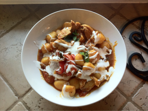 Food from my phone | Ma and I make a life-ruining chicken cacciatore recipe   Served over fresh and buttery gnocchi, garnished with crema mexicana.